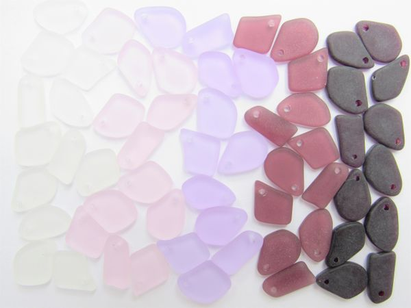 """Cultured Sea Glass Pendants Purple 1/2"""" 5/8"""" Assorted 30 pc Top Drilled Recycled bead supply for making beachy jewelry"""