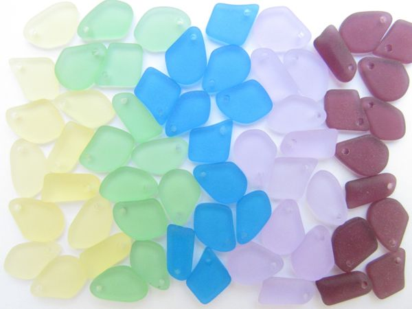 """Cultured SEA GLASS Pendants Assorted 1/2"""" 5/8"""" bead supply 30 pc Top Drilled Recycled for making beachy jewelry"""