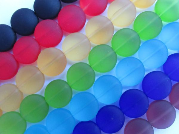 Cultured Sea Glass BEADS 12mm Coin length drilled 7 assorted strands frosted matte finish bead supply for making beachy jewelry