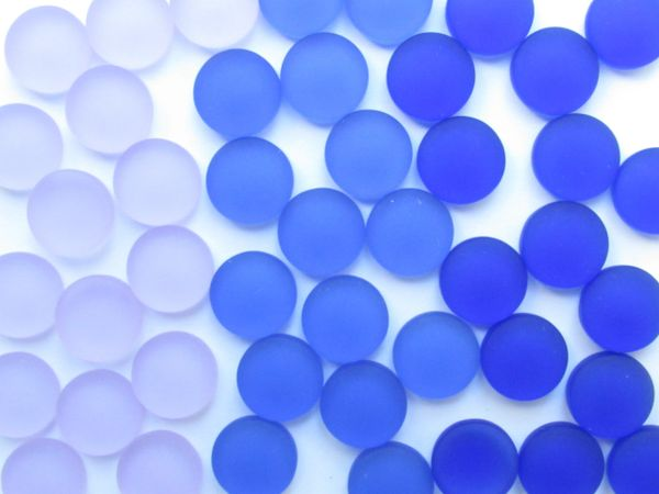 12mm Cabs Cultured Sea Glass Cabachons Blue Purple NOT Drilled assorted for making jewelry