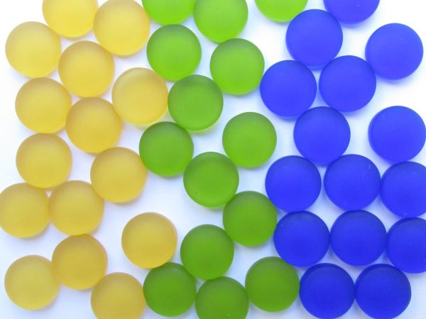 12mm CABACHONS Glass Yellow Green Blue NOT Drilled cushioned flat back for making jewelry