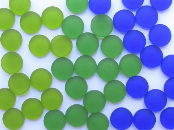 12mm CABACHONS Glass Dark GREEN BLUE Cultured Sea Glass Cabs NOT Drilled cushioned flat back for making jewelry