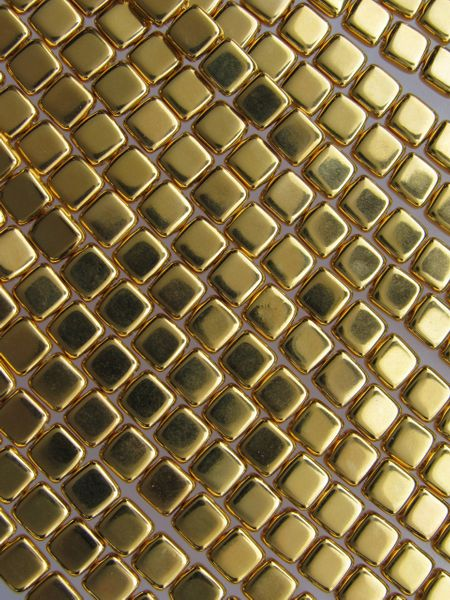 CzechMates BEADS Glass Square Tile 24K GOLD PLATED 6mm 25 pc Spuare 2 Hole Czech