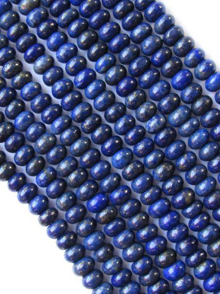 "Natural LAPIS Lazuli BEADS 7x4mm Rondelle Quality Grade Blue 7.75"" Strand 46 pc"