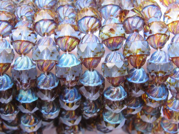 Czech GLASS BEADS Spiral Central Cut 10x8mm Sapphire Blue Transparent Picasso 15 pc Firepolished