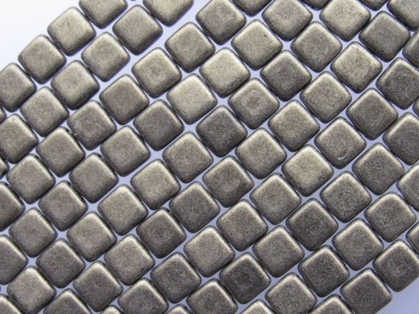 CzechMattes 6mm Tile BEADS Metallic Suede Glass 50 pc 2 Hole