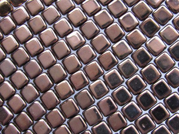 TILE Beads CzechMates 6mm Square Dark Bronze 50 pc 2 Hole Pressed Strand