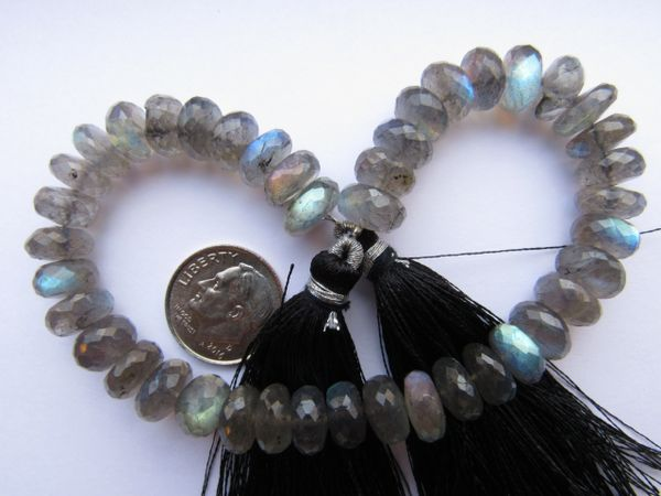 "LABRADORITE Beads 9mm Rondelles Faceted Lots of Flash 8"" Strand 9x5mm Roundels Qenuine Quality Grade"