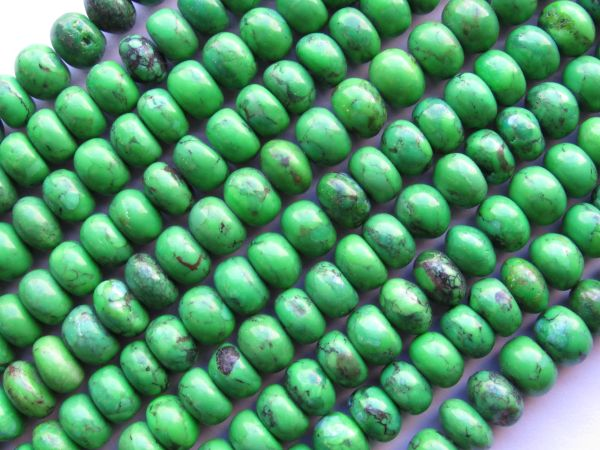 Genuine TURQUOISE BEADS Apple GREEN 9x6mm Rondelle 62 pc Chinese matrix