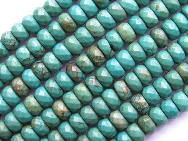 Natural TURQUOISE 8x5mm Rondelle Faceted Quality Natural Blue Gemstone 80 pc Tibet