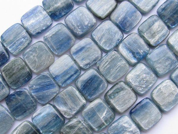 "KYANITE BEADS 14mm Square Grade Quality Natural Blue Gemstone 14 pc 8"" Strand making jewelry bead supply"
