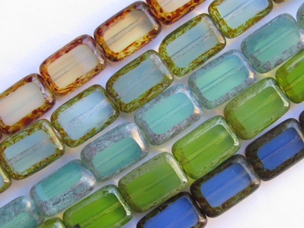 CZECH GLASS BEADS Table Cut Window Rectangle 12x8mm Milky Turquoise Blue Aqua Green assorted 5 strands