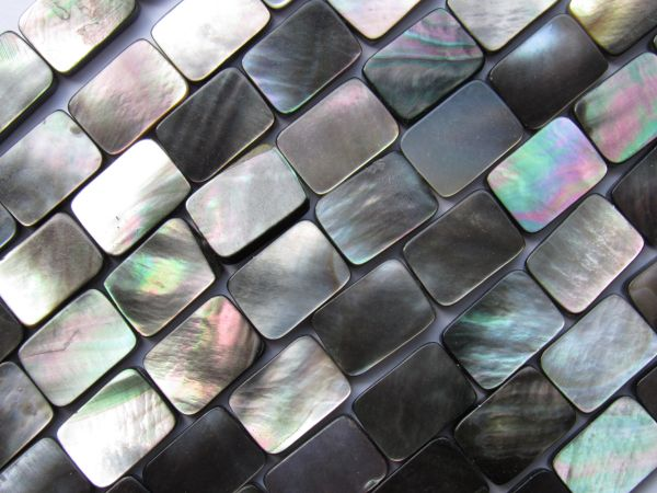 """BLACK Lip SHELL Beads 14x10mm Rectangle Natural 16"""" Strand 28 pc Silvery Iridescent Luster"""