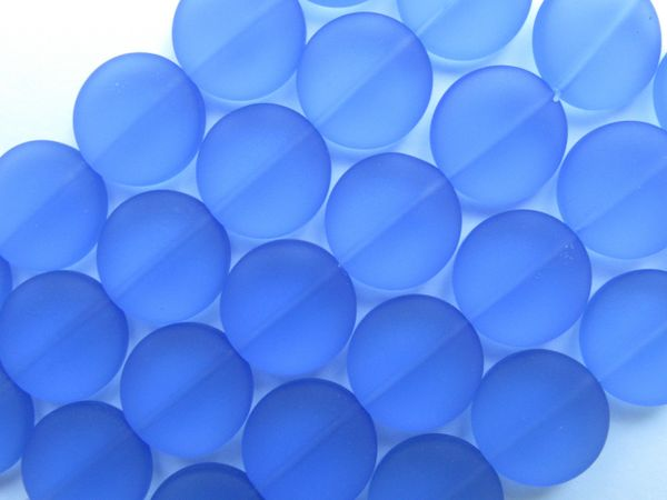 Sea Glass Beads 15mm Coin Sapphire Blue 6 pc Strands ocean beach recycled