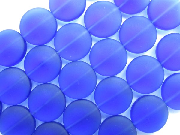 "Sea Glass Beads 15mm Coin Aqua Cobalt Royal Blue 4"" Strands 6 pc ea beachy recycled"