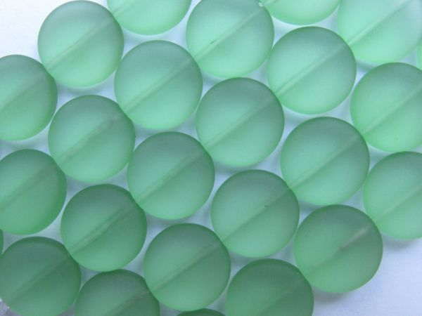 Sea Glass Beads 15mm Coin Peridot Green 6 pc Strands beachy recycled