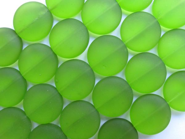 "Sea Glass Beads 15mm Coin OLIVE Green 4"" Strands 6 pc ea beachy recycled"
