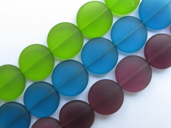 Sea Glass Beads Assorted 15mm Coin Aqua Pacific Blue 3 strands