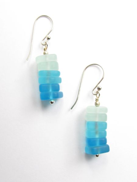 "Sea Glass EARRINGS Dangle Stacked Graduating Shades of Aqua Blue 1 1/2"" Earwires"