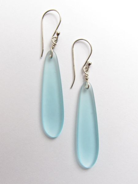 "Sterling Silver EARRINGS Sea Glass Pendants 2 1/4"" Earwires Aqua Jewelry Beach"