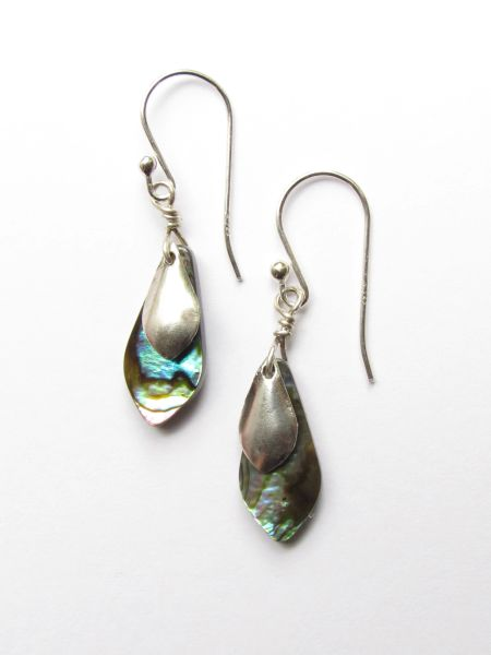 "Abalone EARRINGS Sterling Silver Dangle 1 1/2"" Earwires Multicolor Natural Shell Beach Jewelry"