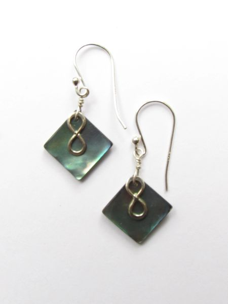 "Abalone EARRINGS Sterling Silver Dangle 1 1/4"" Earwires Multicolor Natural Shell Beach Jewelry"