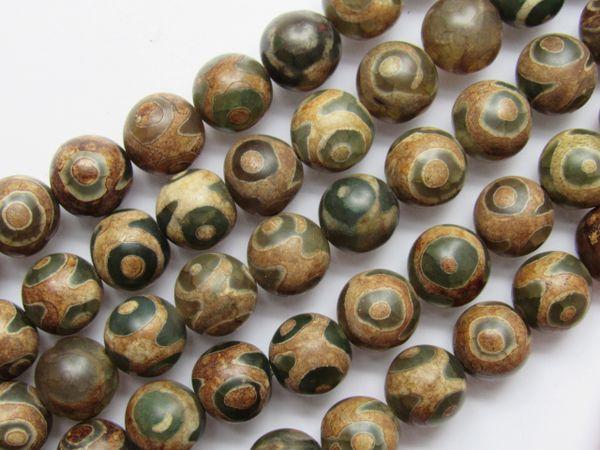 "DZI Beads Natural Agate 10mm Round 15.5"" Strand 36 pc Gemstone Eye Bead Dyed"
