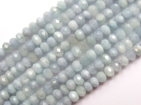 Aquamarine BEADS 6mm Rondelle bead supply for making jewelry Faceted natural gemstone
