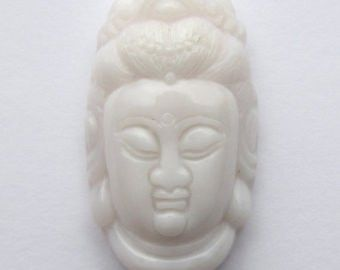 OPAL PENDANT Carved Kwan Yin 38x20mm PERUVIAN Top Drilled Gemstone Asia Budda