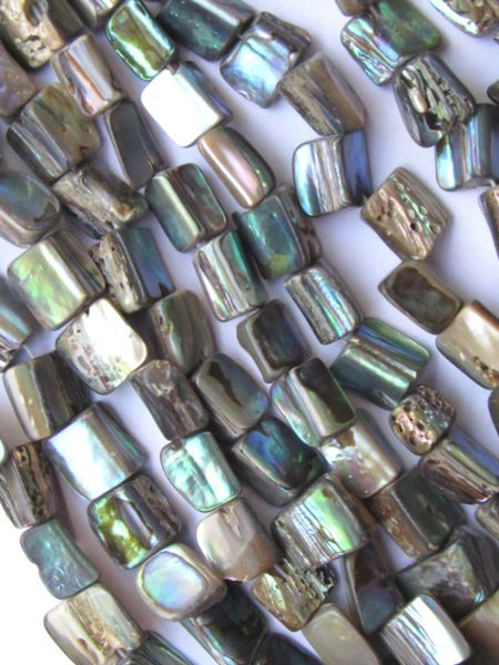 "ABALONE BEADS Nugget Natural Shell Triangle Freeform 40 pc 15.5"" Strand 7-11 x 8-12mm Genuine Multicolor Luster"