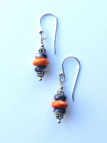 Handmade EARRINGS Sterling Silver WAMPUM Purple Shell SPINEY Oyster Orange Natural Earwires