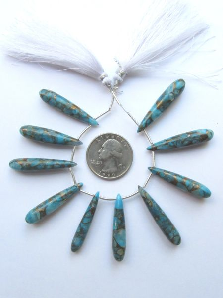 Mojave TURQUOISE PENDANTS 34-37mm Smooth Rounded Teardrop Top Drilled Genuine Blue Copper Gemstone