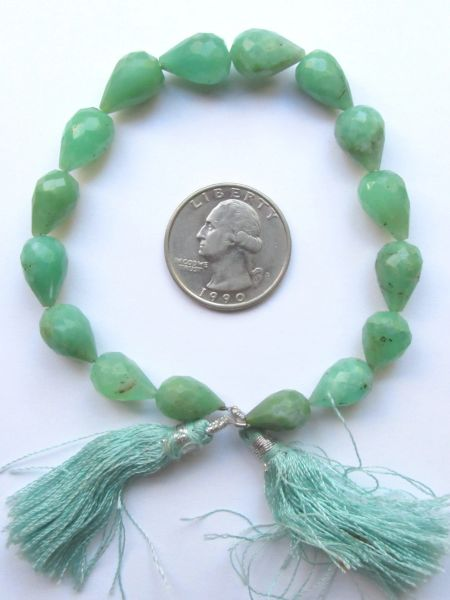 """CHRYSOPRASE BEADS 12mm Teardrop Faceted Teardrop Length Drilled 16 pc 8"""" Strand"""