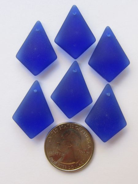 Bead Supply Cultured Sea Glass PENDANTS Diamond 28x20mm Cobalt Royal Blue Great for making earrings