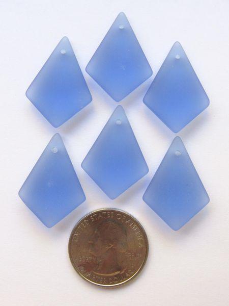Bead Supplies Cultured Sea Glass PENDANTS Diamond 28x20mm Light Sapphire Blue for making jewelry