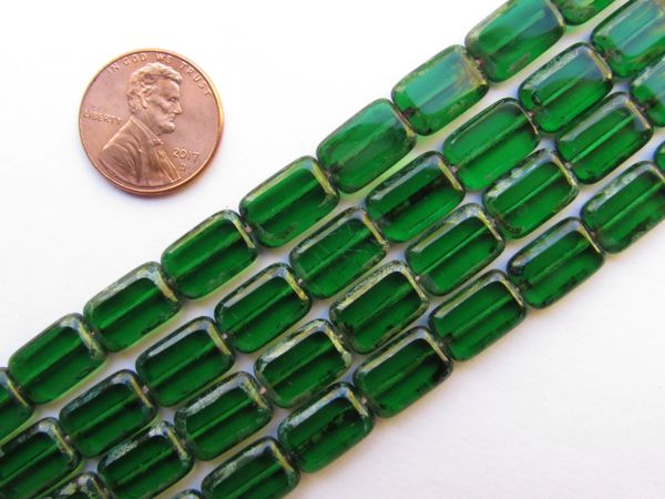 CZECH Glass BEADS Rectangle 12/8mm Table Cuts Green Emerald Picasso 24 pc Strand