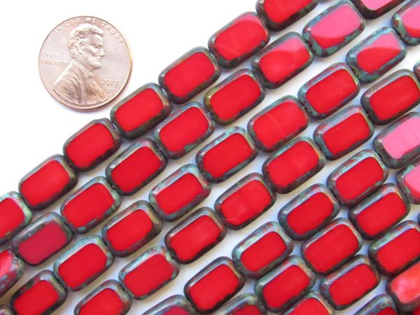 CZECH GLASS Window Table Cuts 12/8mm Opaque Ruby Red 24 pc Rectangle Strand