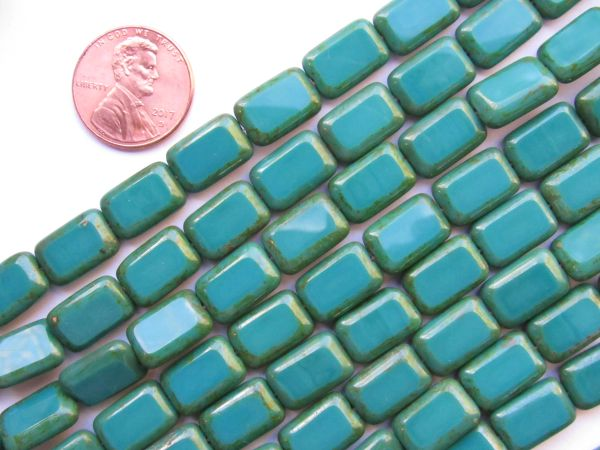 CZECH GLASS BEADS Opaque Persian Turquoise Picasso 24 pc Rectangle 12/8mm Strand Window