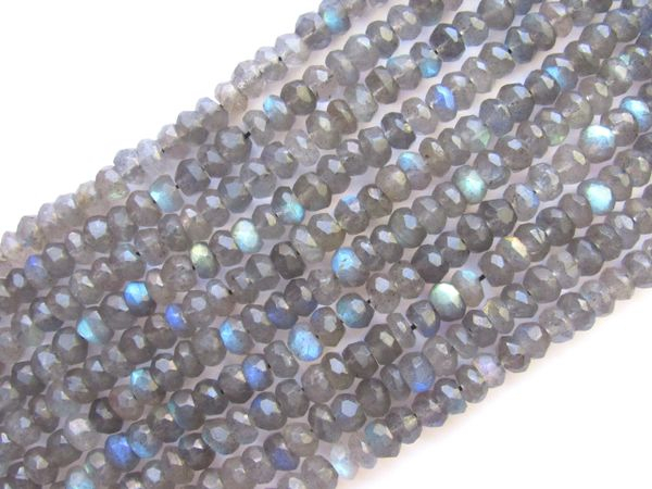 Jewelry Supply - LABRADORITE BEADS 5mm Rondelle Faceted Natural Gemstone Flash