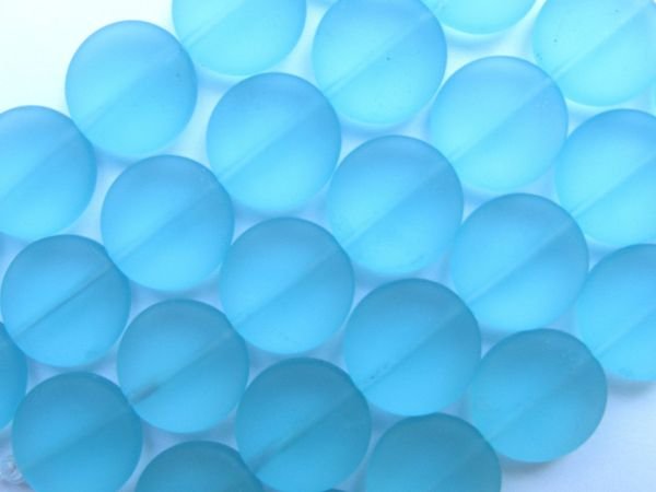 Sea Glass Beads 15mm Coin Aqua Turquoise Bay Blue 6 pc Strands beachy recycled
