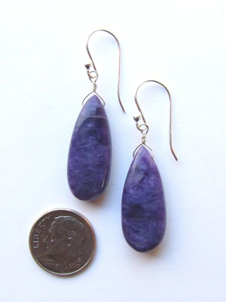 AAA Charoite EARRINGS Sterling Silver Handmade Dangle Purple Gemstone Quality w/ Earwires