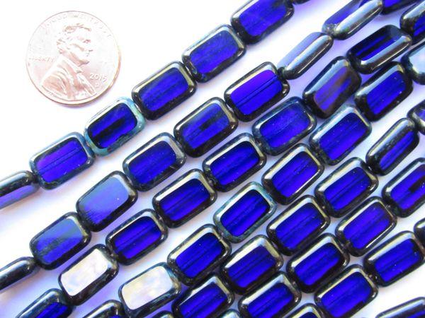 CZECH Glass BEADS Table Cuts Window Cobalt Blue 12x8mm Rectangle 24 pc Strand