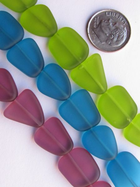 Sea Glass BEADS Small Flat Freeform 3 Assorted Strands Teal Olive Green Medium Amethyst 13-15mm 6 pc ea