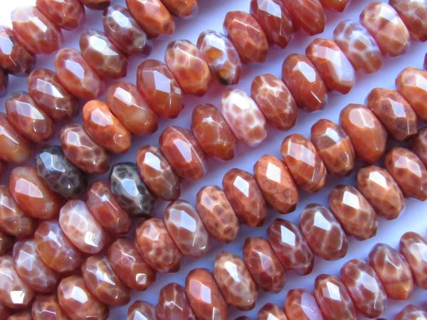 Fire AGATE BEADS Faceted 12mm Rondelle Natural Orange Gemstone Unique