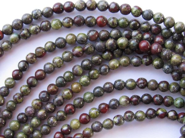 Gemstone BEADS 4mm Round Dragon Blood JASPER Natural Red Green multicolor bead supply