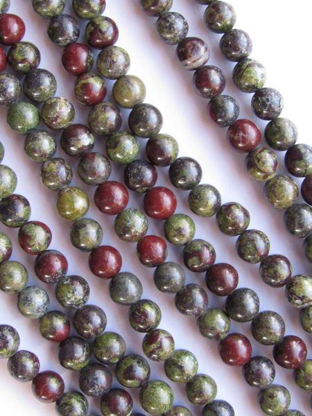 Gemstone BEADS 6mm Round Dragon Blood Quality Grade Gemstone Natural Red Green
