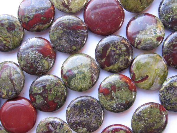 """Jasper BEADS 20mm Coin Dragon Blood 20 pc 16"""" Strand Quality Grade Gemstone Natural Red Green"""