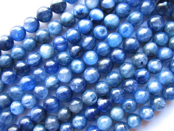 "Kyanite BEADS 7mm Round A Grade Quality 16"" Natural Blue Gemstone 60 pc Strand"