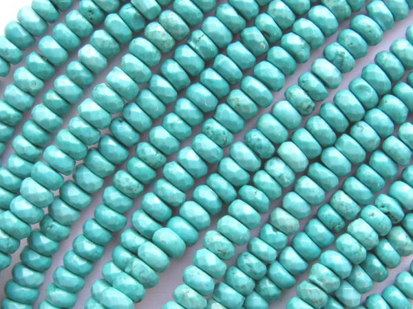 "Natural Turquoise BEADS 4.5mm Faceted Rondelle Grade Quality Natural Blue Green Gemstone 156 pc 15.5"" Strand"