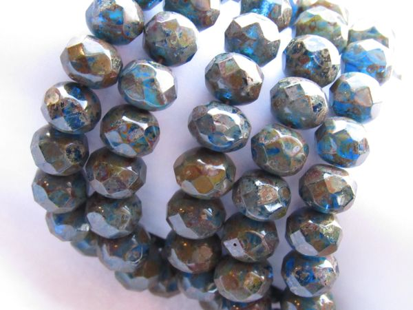 CZECH GLASS Faceted Rondelles 8x6mm Beads 25 pc Pressed Multi-Color Blue Strand